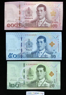 Thailand Comm. Banknotes set 3 UNC 20  50  100 Baht KING RAMA X NEW DESIGN 2018