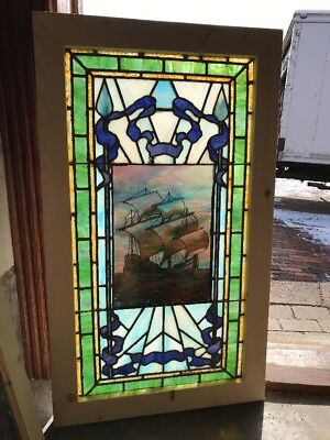 SG 2223 antique painted and fired sailing ship Stainglass window 22 x 37.5