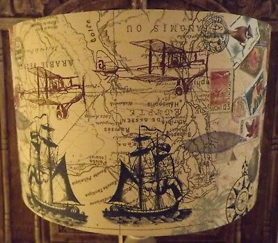 Old Map Lampshade, shabby chic light shade, vintage Free gift.
