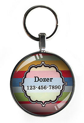 One inch striped pet tag cat small dogs custom personalized steel round new!!