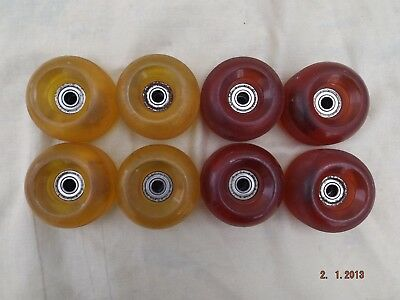 8 X Heavy Duty Urethane Quad Skate Wheels,4 Red,4 Yellow,fitted Abec 1 Bearings