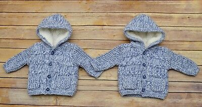 Baby boys twins 2x hooded knitted warm jacket, blue , size newborn, bundle