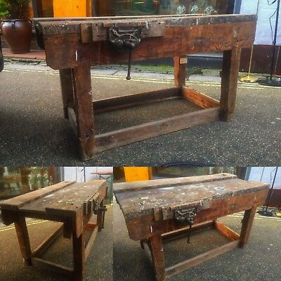 Antique Workbench ,Table Shop Display Butchers block Industrial Kitchen Unit