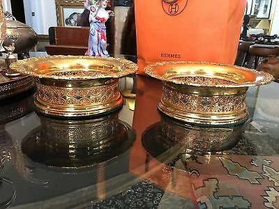 """PAIR LARGE 7"""" Gold Wash Silver Plate & Mahogany Wine Champagne Coasters Stands"""