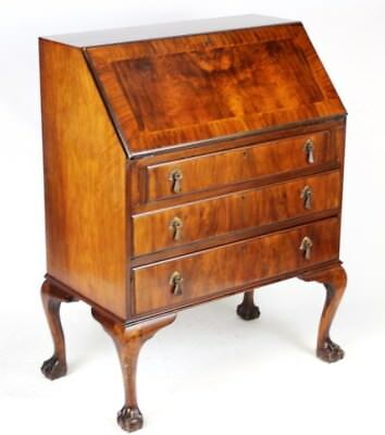 Antique Queen Anne Style Walnut Bureau Writing Desk - FREE Shipping [PL3156]