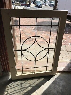 Sg 2235 Antique Leaded Glass Window 22 X 30