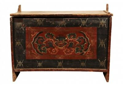 Antique 19th Century Tibetan Polychrome Decorated Lift Top Trunk (62317)