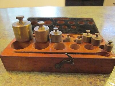 Antique Voland & Sons New York Scale Brass 8pc Weight Set USA