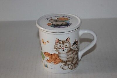 Vintage Currents House Cats Mug Cup With Lid Coaster