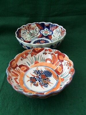 2 antique Japanese Imari bowls (8.5 and 7.25 inches)