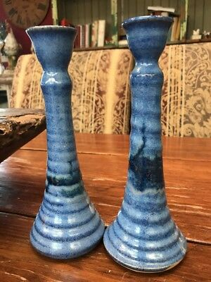 PAIR Antique American Hand Turned Signed Blue Stoneware Pair of Candlesticks 8""