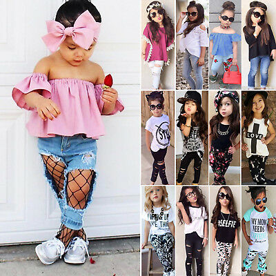 Toddler Baby Kids Girls Outfits T-shirt Tops + Long Pants Leggings Clothes Set