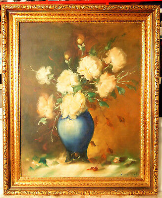 Vintage Still Life Oil Painting ''YELLOW ROSES'' by GABRIELL, New York, 20th Cen
