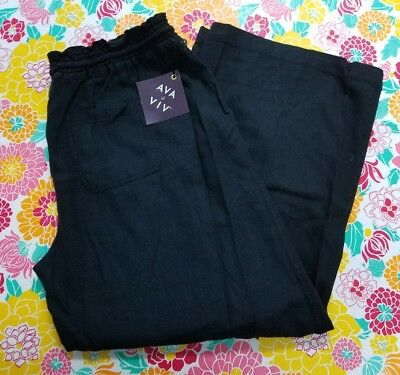 NWT Ava Viv Size XL Women Plus Wide Leg Black Linen Drawstring Pants