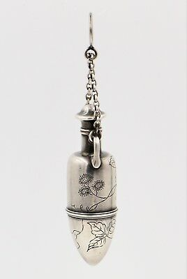 Antique Sterling Silver Engraved Tiffany & Co. Amphora Shaped Vinaigrette Flask