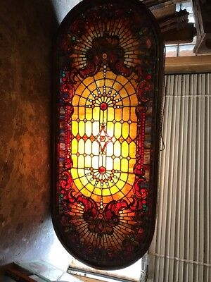 Mar 55 Gorgeous Antique Stainglass Oval Jeweled Window 78 X 32.5