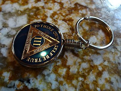 Silver Keyring Keychain Holder AA Alcoholics Anonymous Coin Medallion Tri-Plate