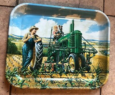 """John Deere """"Lunch Time"""" Tin Serving Tray 1942 Image By Walter Hinton Tractor"""