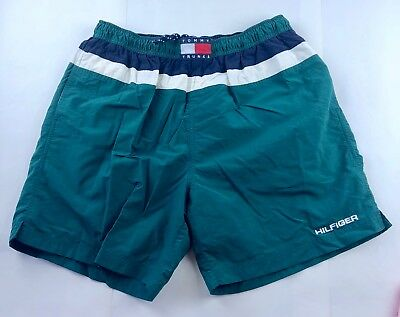 Tommy Hilfiger Men's VTG Swim Tommy Trunks Green Shorts Size Large