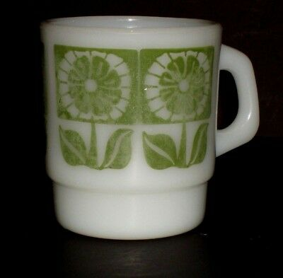 Vintage Fire King Green Floral Coffee Mug C Handle Milk Glass Daisy Flowers