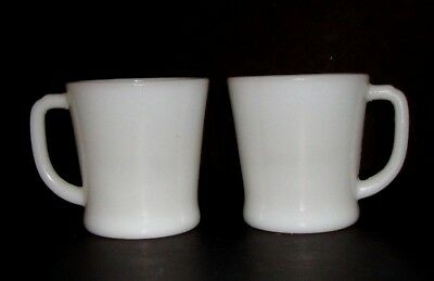Lot 2 Vintage Fire King White Coffee Mugs Cups D Handle Oven Ware 19