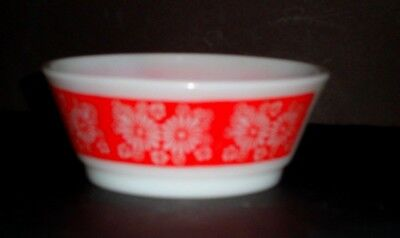 Vintage Fire King Red Floral Daisy Bowl  Milk Glass Anchor Hocking Flowers