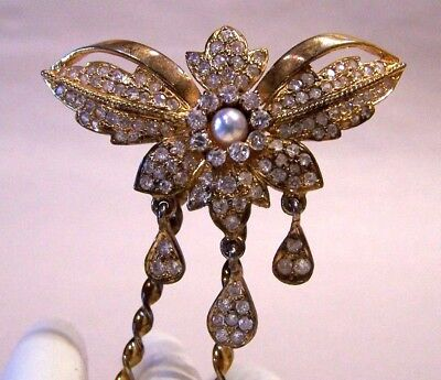 Vintage Gold Gilt Pearl Pave Set Faceted Crystals Dangles Hair Bun Pick Comb