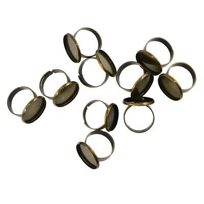 10pcs Antique Bronze Adjustable Cabochons Ring Findings Blank Ring Base 18mm