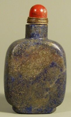 Very Fine Old China Chinese Carved Lapis Lazuli Snuff Bottle ca. 20th c.