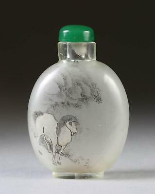 China Chinese Inside Painted Horse Glass Snuff Bottle ca. 19th-20th Century