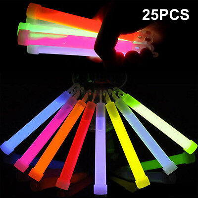 25 Premium Glow Sticks Individually Wrapped 6inch Long Party Neon Safety Light