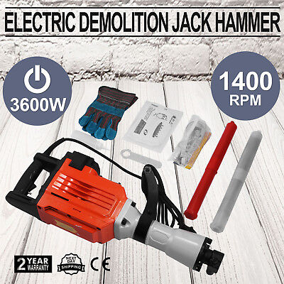 3600W Demolition Jack Hammer Electric Concrete Breaker Punch 2 Chisel Bits