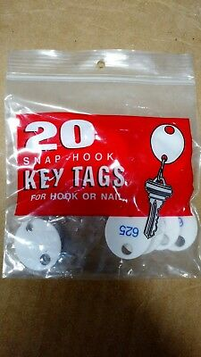 100 Oval Snap-Hook Key Tags, Plastic, 1 1/8 x 1 1/4, White   5 PACKS of 20