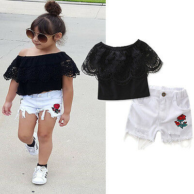 US Stock Toddler Kids Baby Girl Off-shoulder Tops+Rose Print Short Pants Outfits