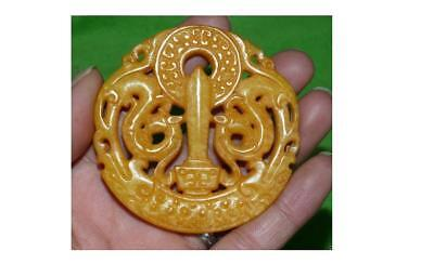 Chinese Old Handwork Yellow Jade Carved Dragon Pendant