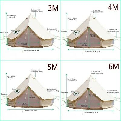 4-Season Cotton Canvas Waterpoof Bell Tent Front Awning Party 4M 5M 6M Yurt Tent