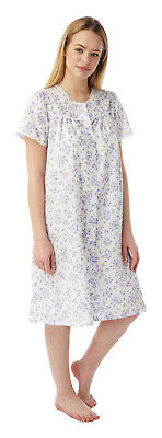Ladies PolyCotton Short Sleeves Floral Nightdress Button Through  Lilac Size 28