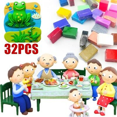 32pcs Fimo Oven Bake Polymer Clay Modelling Moulding Mixed Colour DIY Tools Set