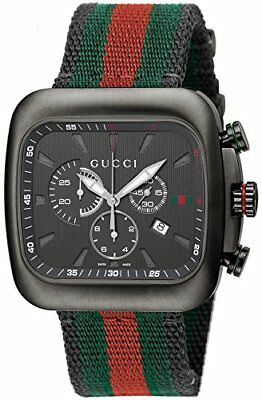 489651875a3 GUCCI Quartz Coupe Black Dial Chronograph Man s Watch Stainless YA131202  F S NEW