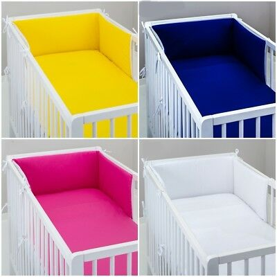 sale ! COT BUMPER padded filled straight for cot / cot bed GREY PINK BLUE WHITE