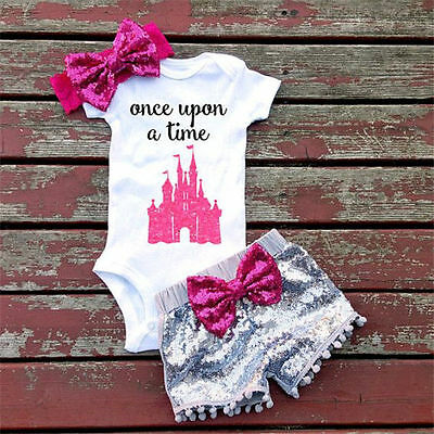 USA 0-24M Baby Girls Top T-Shirt Rompers Sequin Pants Outfits Clothes Princess