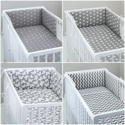 COT BUMPER padded filled straight for cot / cot bed GREY STARS CHEVRON DOTS
