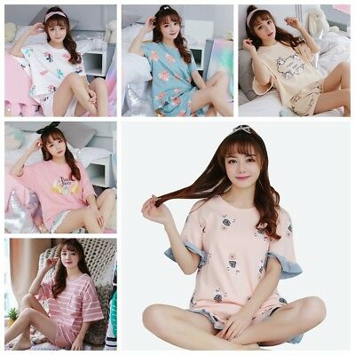 Women Pajamas Sets Summer Short Sleeve Cotton Cartoon Print Cute Loose Sleepwear