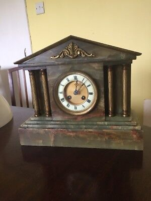 very large Victorian green marble onyx mantle clock in good working order