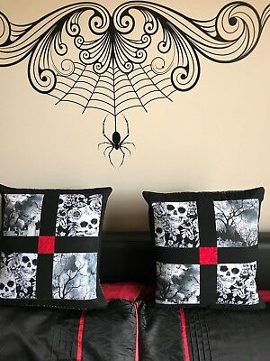 Locally Hand Quilted Skull Graveyard Pillow slip~Wicca~Gothic~Halloween