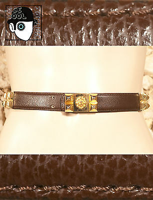 "VINTAGE 80s CALFSKIN FACED SYNTHETIC BELT - 28.7"" to 31.7"" -  (Q)"