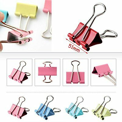 10Pcs 51mm 2` Binder Clips, small Size Metal Paper Binding Office Random Color