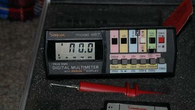 Simpson 467 True RMS Digital Multimeter + Digalog Display, Case, Leads 10A Shunt