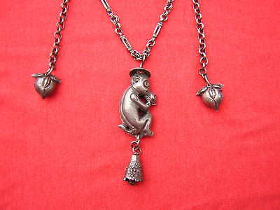Rare Ornate Antique Chinese MONKEY Sterling Silver Bell Necklace