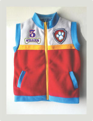 BIRTHDAY PARTY PAW PATROL RYDER VEST SOFT FLEECE HALLOWEEN All SIZE PERSONALIZED